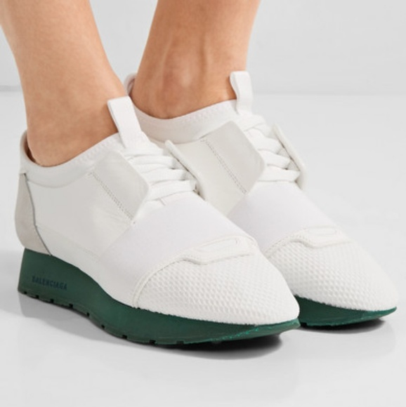 balenciaga runners white and green